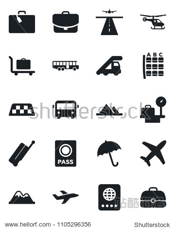 Set of vector isolated black icon - runway vector  taxi  suitcase  baggage trolley  airport bus  umbrella  passport  ladder car  helicopter  seat map  luggage scales  plane  mountains  case