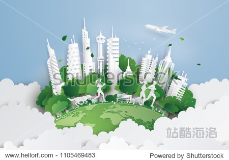 Illustration of eco concept green cityon the skyf. Paper art and digital craft style.