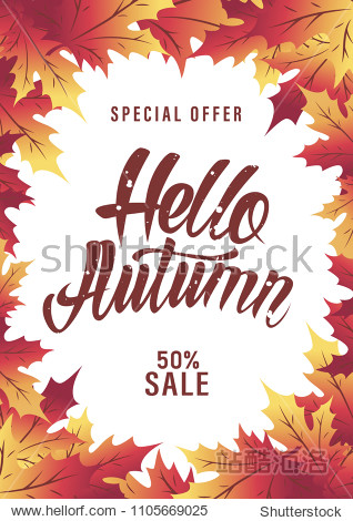 Autumn background with leaves. Hello autumn. Vector illustration