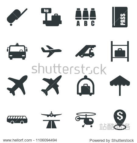 Black vector icon set plane vector  runway  suitcase  baggage trolley  airport bus  umbrella  passport  ladder car  helicopter  seat map  luggage storage  scales  dollar pin