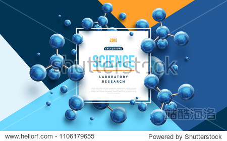 Science banner with square frame and blue 3d molecules on modern geometric background. Vector illustration.