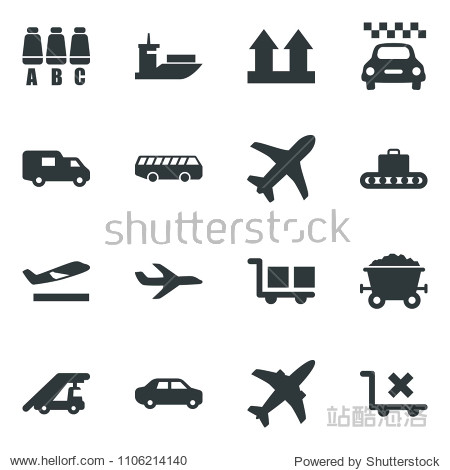 Black vector icon set plane vector  taxi  departure  baggage conveyor  airport bus  ladder car  seat map  mine trolley  sea shipping  delivery  cargo  up side sign  no