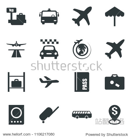 Black vector icon set plane vector  runway  taxi  suitcase  airport bus  umbrella  passport  luggage storage  scales  globe  dollar pin