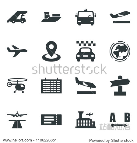 Black vector icon set runway vector  taxi  departure  arrival  airport bus  ticket  ladder car  helicopter  flight table  building  earth  signpost  navigation  plane  sea shipping  route