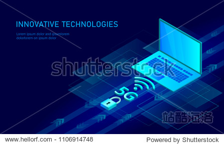 5G new wireless internet wifi connection. Laptop mobile device isometric blue 3d flat. Global network high speed innovation connection data rate technology vector illustration