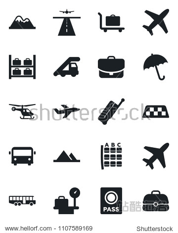 Set of vector isolated black icon - plane vector  runway  taxi  suitcase  baggage trolley  airport bus  umbrella  passport  ladder car  helicopter  seat map  luggage storage  scales  mountains  case