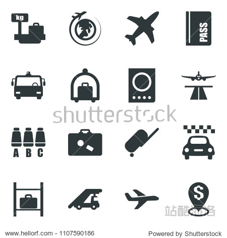 Black vector icon set plane vector  runway  taxi  suitcase  baggage trolley  airport bus  passport  ladder car  seat map  luggage storage  scales  globe  dollar pin