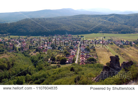 Scenic Rural landscape  aerial view on village