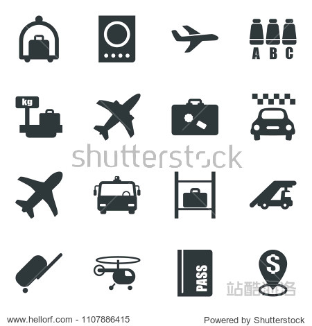 Black vector icon set plane vector  taxi  suitcase  baggage trolley  airport bus  passport  ladder car  helicopter  seat map  luggage storage  scales  dollar pin