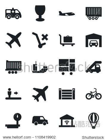 Set of vector isolated black icon - plane vector  baggage trolley  escalator  ladder car  ambulance  bike  sea shipping  truck trailer  container  consolidated cargo  fragile  no  heavy scales