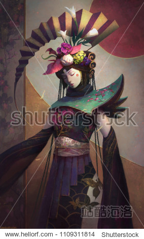 Fantasy style painting of a Geisha woman in Eastern clothing.