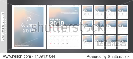 Calendar 2019  Set Desk Calendar template design with Place for Photo and Company Logo. Week Starts on Sunday. Set of 12 Months