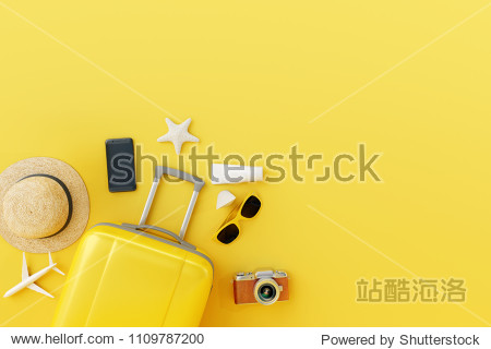 Yellow suitcase with traveler accessories on yellow background. travel concept