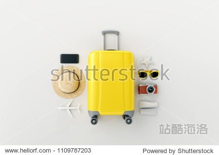Yellow suitcase with traveler accessories on white bright background. travel concept