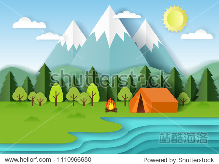 Summer camping background with forest  mountains  lake  campfire and tent. Vector illustration in paper art style.