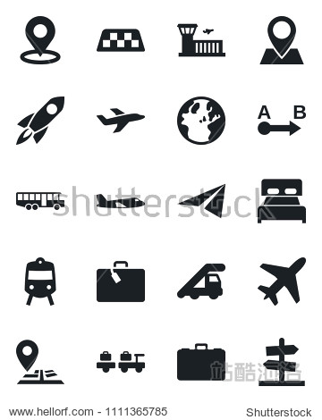 Set of vector isolated black icon - plane vector  taxi  suitcase  airport bus  train  baggage larry  ladder car  building  case  navigation  pin  route  place tag  bedroom  rocket  earth  paper