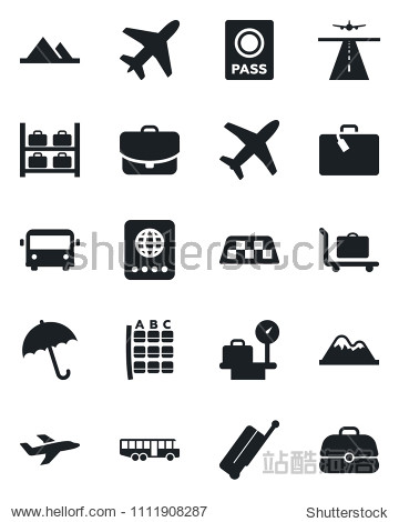 Set of vector isolated black icon - plane vector  runway  taxi  suitcase  baggage trolley  airport bus  umbrella  passport  seat map  luggage storage  scales  mountains  case