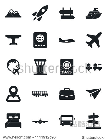 Set of vector isolated black icon - plane vector  airport tower  bus  signpost  passport  baggage larry  globe  case  navigation  sea shipping  mountains  bedroom  table  rocket  paper  guidepost