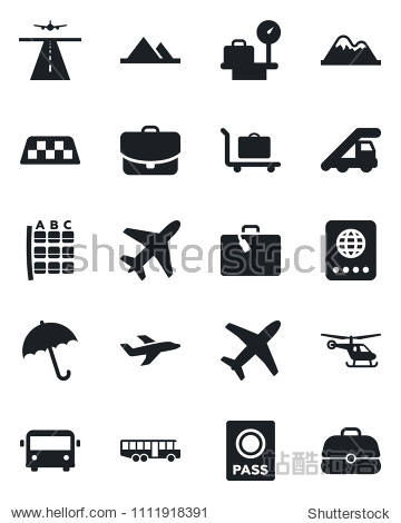 Set of vector isolated black icon - plane vector  runway  taxi  suitcase  baggage trolley  airport bus  umbrella  passport  ladder car  helicopter  seat map  luggage scales  mountains  case