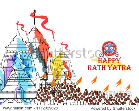 Vector design of Ratha Yatra of Lord Jagannath, Balabhadra and Subhadra on Chariot