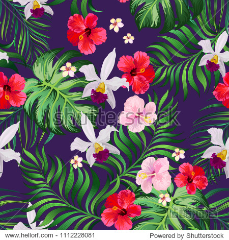 Tropical seamless pattern with palm leaves  hibiscus flwers and orchid. Vector jungle background.