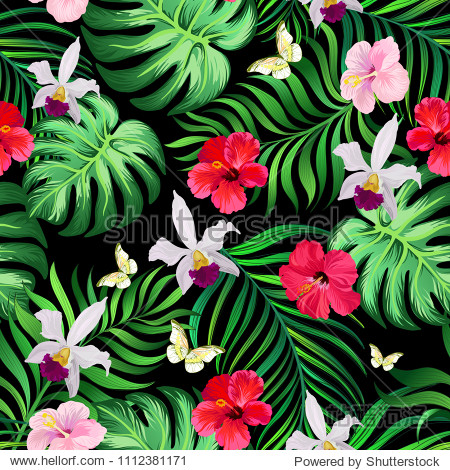 Seamless tropical pattern with hibiscus flowers  palm leaves and orchid. Vector  summer background. template for print design.