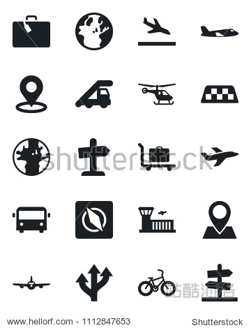 Set of vector isolated black icon - taxi vector  arrival  suitcase  baggage trolley  airport bus  ladder car  plane  helicopter  building  bike  route  earth  pin  place tag  compass  guidepost