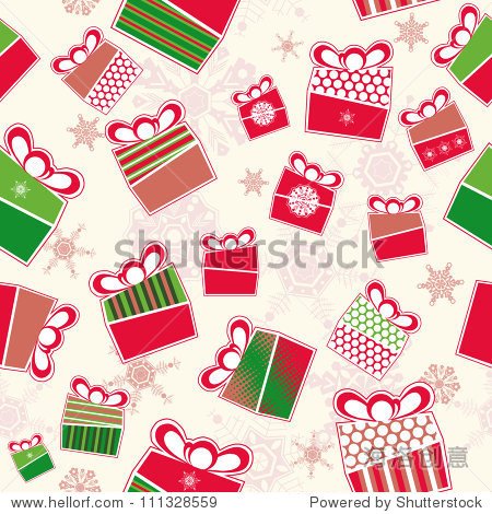 Seamless pattern with Christmas present boxes and falling snowflakes