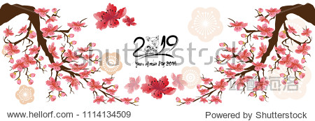 Set Banner Happy new year 2019 greeting card and chinese new year of the pig  Cherry blossom background