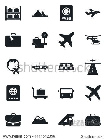 Set of vector isolated black icon - plane vector  runway  taxi  suitcase  baggage trolley  airport bus  passport  ladder car  helicopter  luggage storage  scales  globe  mountains  case