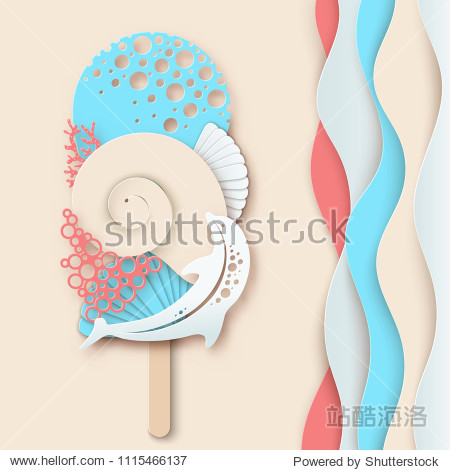 Paper ice cream made of dolphin  sea wave  coral and sea shell. Concept of summer beach vacation. Paper cut modern design