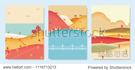 Autumn scenery landscape  small house on the hill with sea  seaside small village with mountains and small house on the hill with clouds