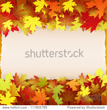 Autumn background with leaves  wood boards and cardboard banner