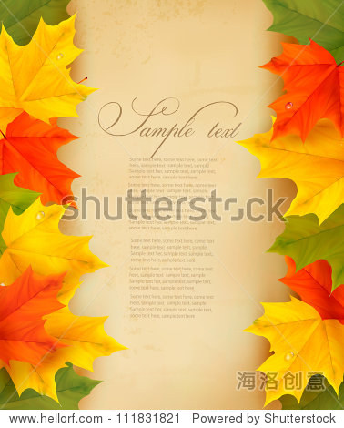 Autumn leaves with old paper. Back to school. Vector