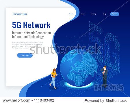 Isometric 5G network wireless systems and internet vector illustration. Communication network  Business concept.