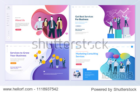 Set of web page design templates for business  finance and marketing. Modern vector illustration concepts for website and mobile website development. Easy to edit and customize.