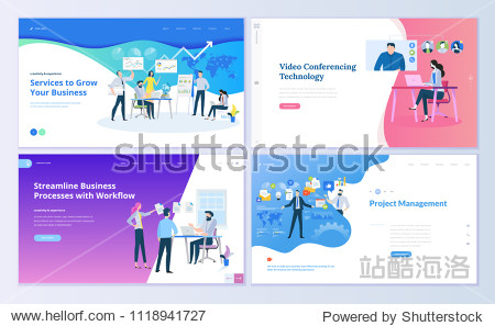 Set of web page design templates for project management  business communication  workflow and consulting. Modern vector illustration concepts for website and mobile website development.