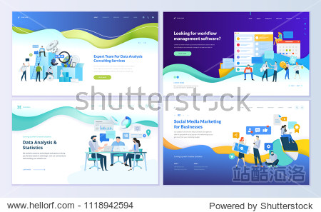 Set of web page design templates for data analysis  management app  consulting  social media marketing. Modern vector illustration concepts for website and mobile website development.