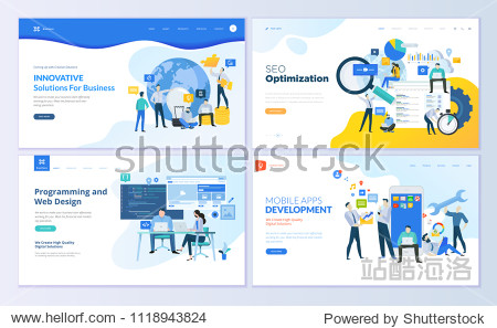 Set of web page design templates. Modern vector illustration concepts for website and mobile website development  SEO  mobile apps  business solutions. Easy to edit and customize.
