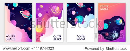 set of banner templates. universe. space trip. design. vector illustration