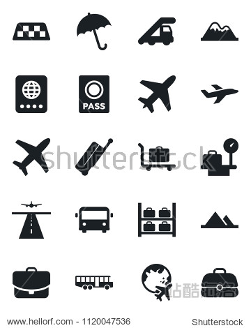 Set of vector isolated black icon - plane vector  runway  taxi  suitcase  baggage trolley  airport bus  umbrella  passport  ladder car  luggage storage  scales  globe  mountains  case