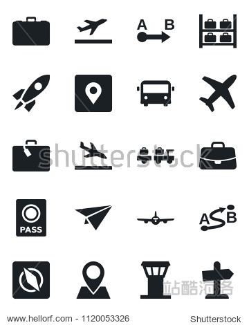 Set of vector isolated black icon - airport tower vector  departure  arrival  suitcase  bus  passport  baggage larry  plane  luggage storage  case  pin  route  place tag  compass  rocket  paper