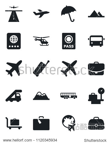 Set of vector isolated black icon - plane vector  runway  suitcase  baggage trolley  airport bus  umbrella  passport  ladder car  helicopter  luggage scales  globe  mountains  case