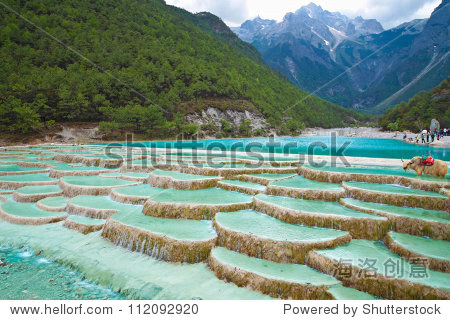 White Water River waterfall at the cliffs and brooks at the foot of Jade Dragon Snow Mountain, Lijiang, Yunnan China.