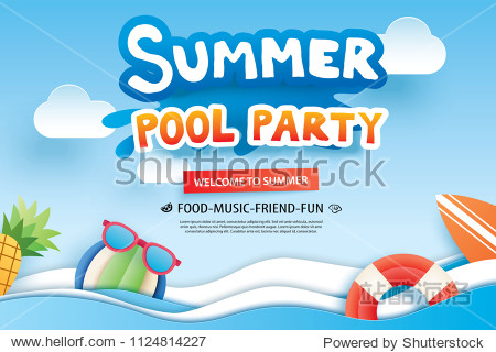 Summer pool party with paper cut symbol and icon for invitation background. Art and craft style. Use for ads  banner  poster  card  cover  stickers  badges  illustration design.