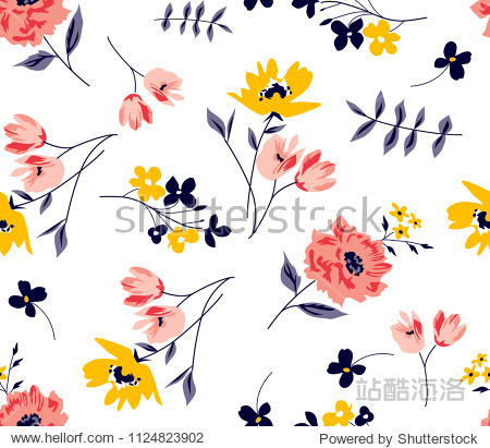 Floral spring pattern Ditsy Flowers in vector for textile print fashion pattern fabric print