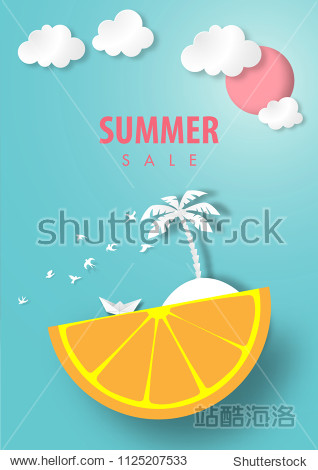 Paper art summer sale background with lemon island and coconut tree white origami boat   summer beach view paper cut style vector
