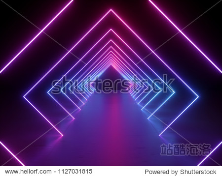3d render  ultraviolet neon square portal  glowing lines  tunnel  corridor  virtual reality  abstract fashion background  violet neon lights  arch  pink blue vibrant colors  laser show