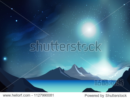 Fantasy abstract background vector illustration with planet and galaxy space  stars scatter on milky way  nature landscape concept