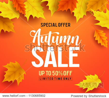 Autumn sale vector banner background with fall leaves elements  autumn typography and discount text in orange background. Vector illustration.